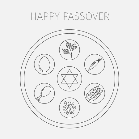 seder plate: Passover seder plate with line icons. Vector.