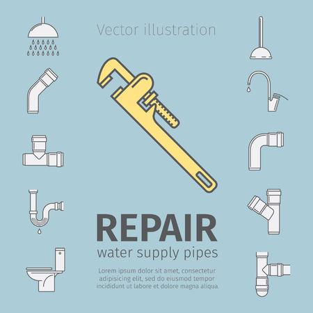 drops of water: Repair, plumbing work, plumbing systems, plumber tool, sewage. Thin line icon set.