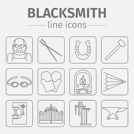 Blacksmith icons set.