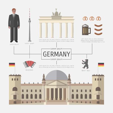 tv tower: German infographics. Symbol of Berlin, architecture. Illustration