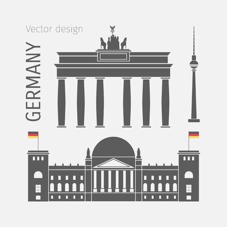 Germany landmarks flat symbol Иллюстрация