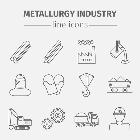 Metallurgy Vector Isolated  Icons Set