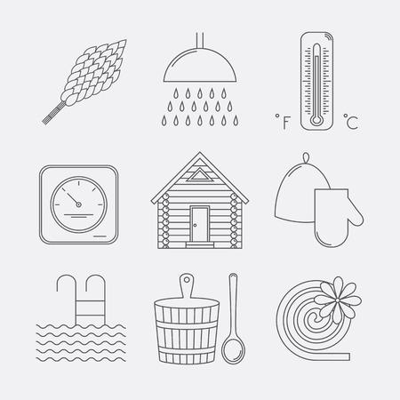 Set of sauna icons. Illustration of russian banya elements.
