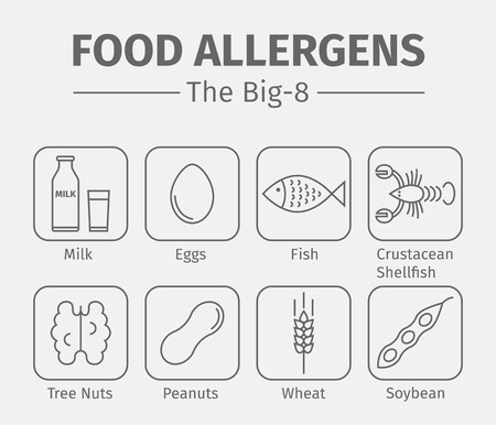 Food allergens line icons. A group of the eight major allergenic foods is often referred to as the Big-8. Illustration