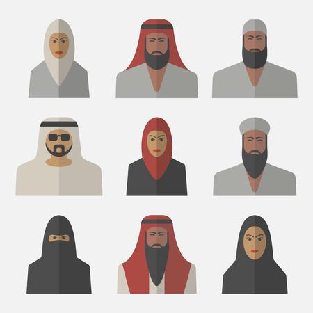 Arabic people, arab woman, arabian man, flat icons.