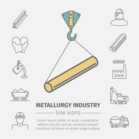 Metallurgy related vector line icon set. Industrial poster.