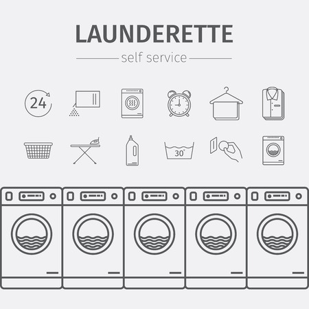 dry cleaner: Self-service laundry. Vector signs for web graphics.