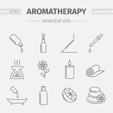 Essential Oil line icon. Aromatherapy oils set. Vector illustration. Illustration
