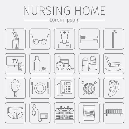 sphygmomanometer: Nursing Home line icon. Medical Care for The Elderly. Symbols of Older People Vector illustration. Illustration