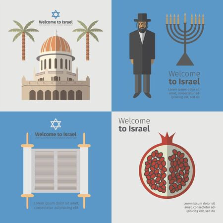 zion: Israel poster set. Flat icon. Vector Stock Photo