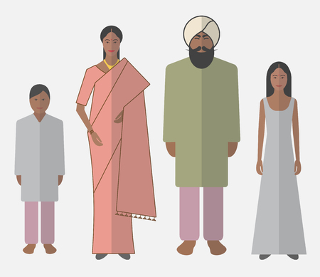 Illustration of indian family in national clothes.