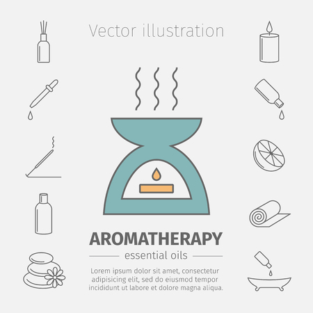 freshener: Essential Oil line icon. Aromatherapy oils set. Vector.