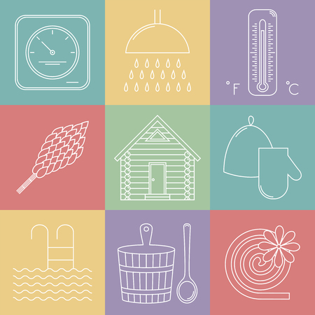 pail: Elements of Russian banya. Sauna icons set. Vector.
