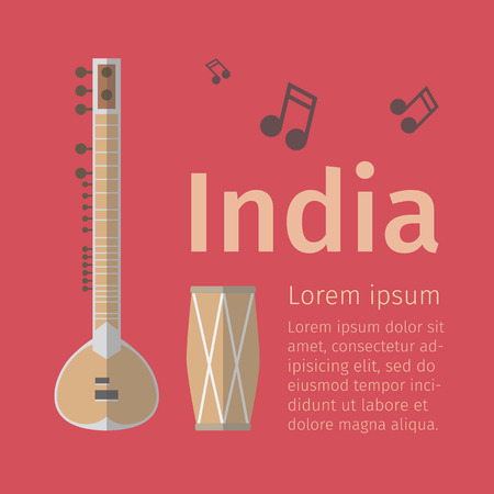 Indian music poster. Flat icon. Vector