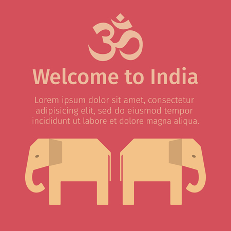 India poster. Flat icon. Vector template