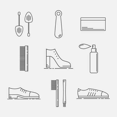 bristles: Shoe Care Products. Shoe Accessories Icons Set.
