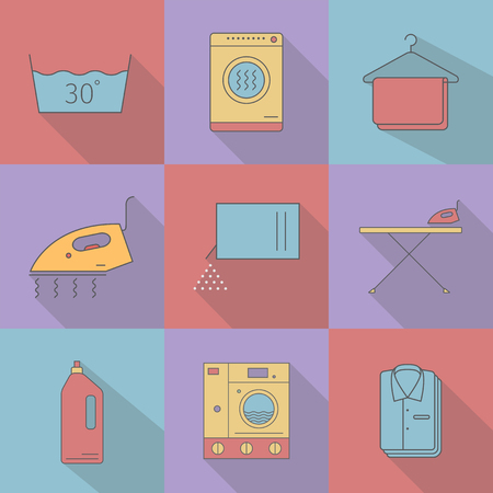 Flat style with long shadows, laundry icon.