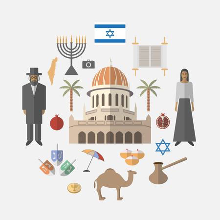 Israel travel.  Vector illustration.
