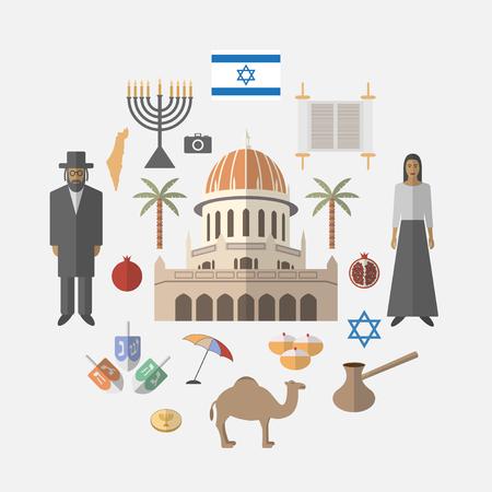 Israel travel.  Vector illustration.