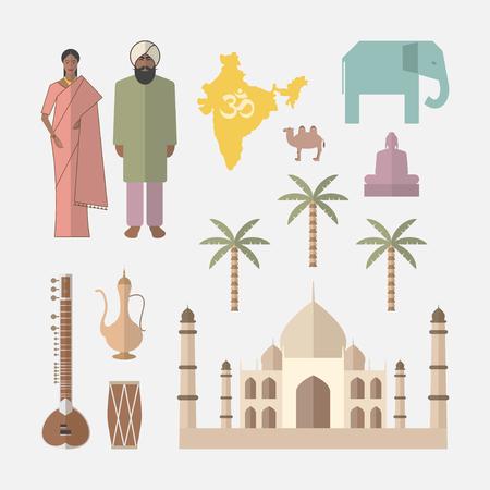 Symbols of India. Flat icon