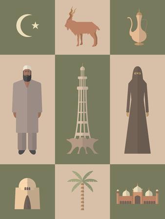 islamabad: Pakistan. Flat icons travel set.