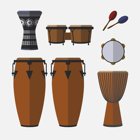 Set of percussion instruments. Flat icon