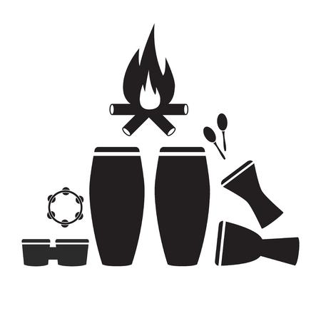 Percussie-instrumenten Icon set. Vector teken voor webafbeelding
