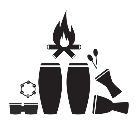 Strumenti a percussione Set di icone. Vector segno per la grafica web Archivio Fotografico - 81304295