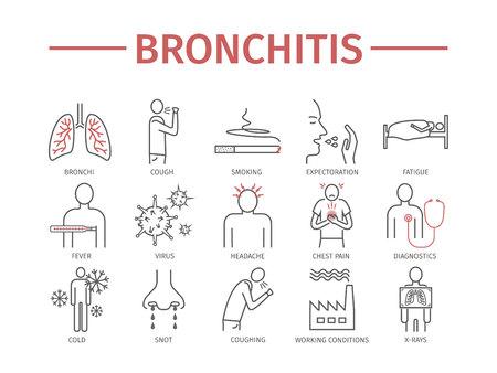 Bronchitis. Symptoms, Treatment. Line icons set. Vector signs Vettoriali