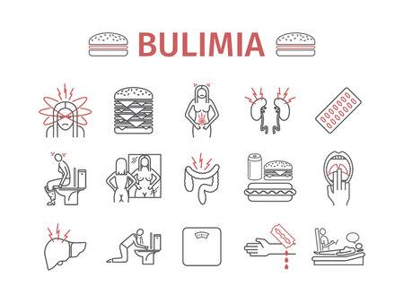 Boulimia. Symptomen, behandeling. Lijn pictogrammen instellen. Vector tekenen Stock Illustratie