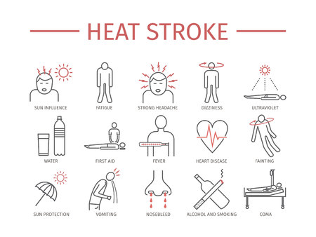 Heat stroke vector icons