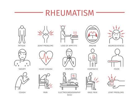 Reumatismo. Iconos de vector Ilustración de vector