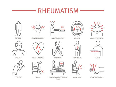 Rheumatism. Vector icons Illustration
