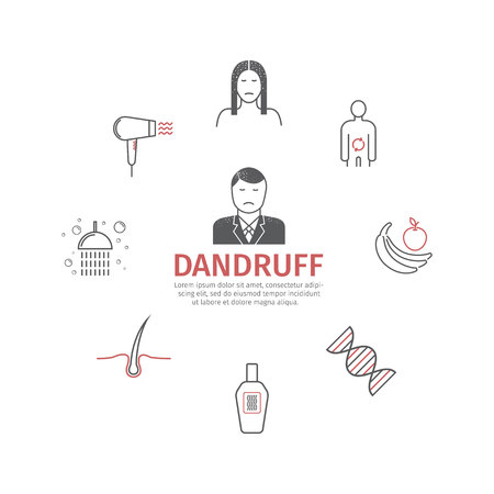 Dandruff. Line icons set. Vector signs 向量圖像