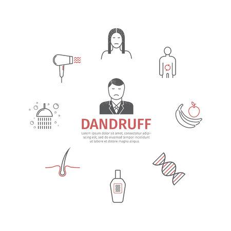 Dandruff. Line icons set. Vector signs Illustration