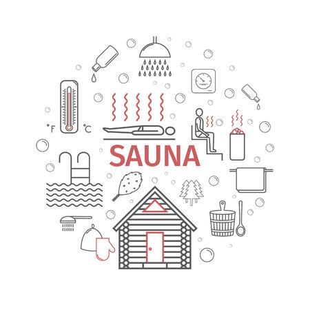Sauna. Line banner. Vector signs