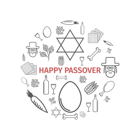 Pessach Seder Plakat. Liniensymbole festgelegt. Vektor-Zeichen Vektorgrafik