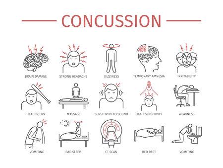 Concussion. Symptoms, Treatment. Line icons set. Vector signs