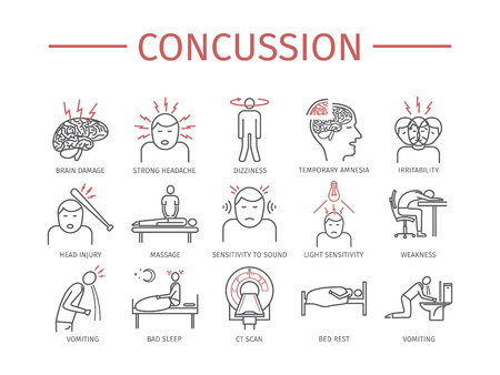Concussion. Symptoms, Treatment. Line icons set. Vector signs