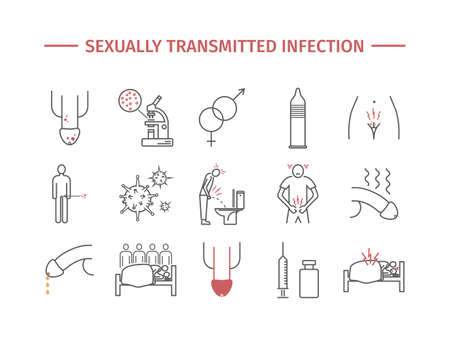 Sexually transmitted infection. Symptoms, Treatment. Line icons set. Vector signs
