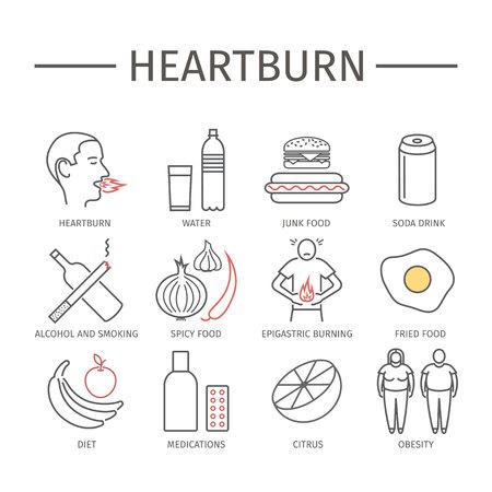 Heartburn. Symptoms, Treatment. Line icons set. Vector signs Stock Photo