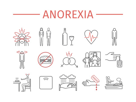 Anorexia. Symptoms, Treatment. Line icons set. Vector signs