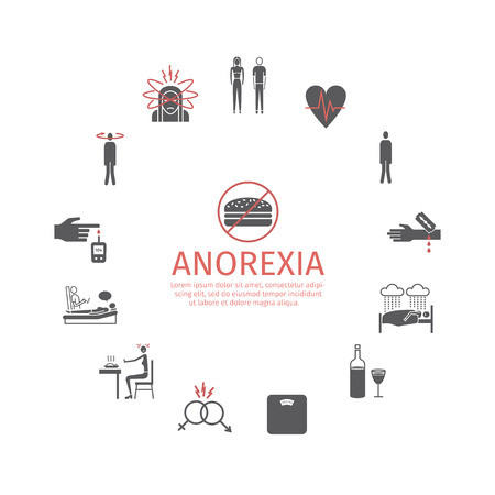 Anorexia. Symptoms, Treatment. Icons set. Vector signs Stock Photo