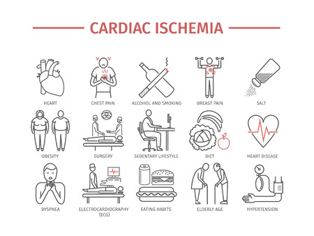 Cardiac ischemia. Symptoms, Treatment. Line icons set. Vector signs
