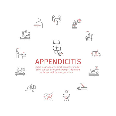 rectum: Appendicitis. Symptoms, Treatment. Line icons set. Vector signs