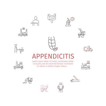 Appendicitis. Symptoms, Treatment. Line icons set. Vector signs