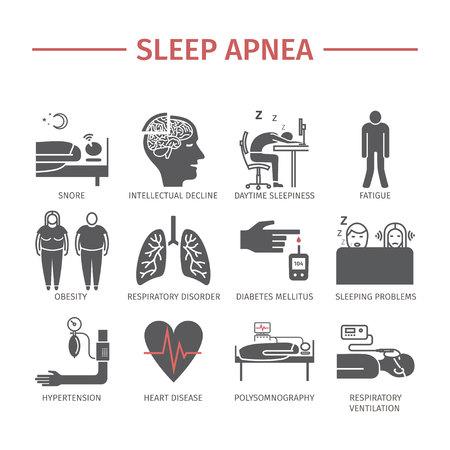 sleepiness: Sleep Apnea icons set. Vector signs.