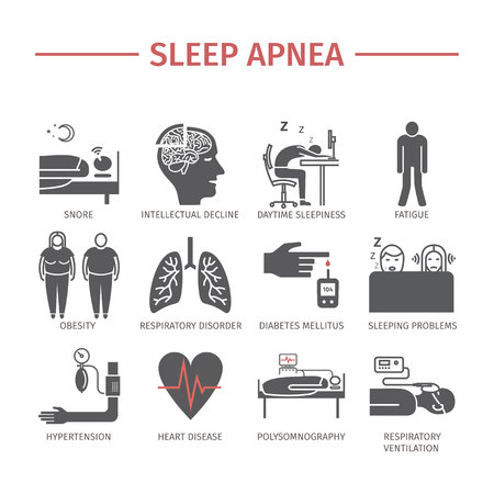 Sleep Apnea icons set. Vector tekens. Stock Illustratie