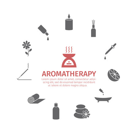 Essential Oil icon. Aromatherapy oils set. Vector Çizim