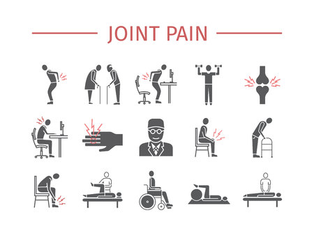 Joint pain. Icons set. Vector signs for web graphics. Illustration
